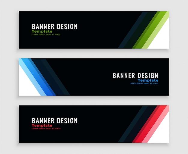 Bannières d'affaires sombres modernes définies en trois couleurs