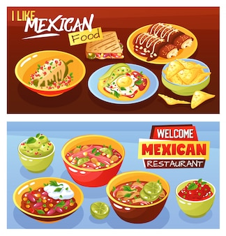 Bannières alimentaires mexicaines