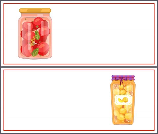 Bannières d'aliments conservés avec des tomates et des pêches