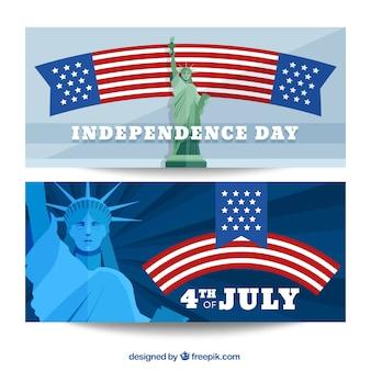 Bannières américaines avec la statue de la liberté