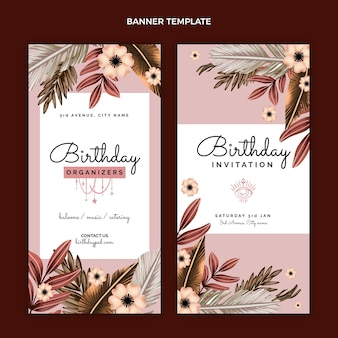 Bannières d'anniversaire boho aquarelle verticales