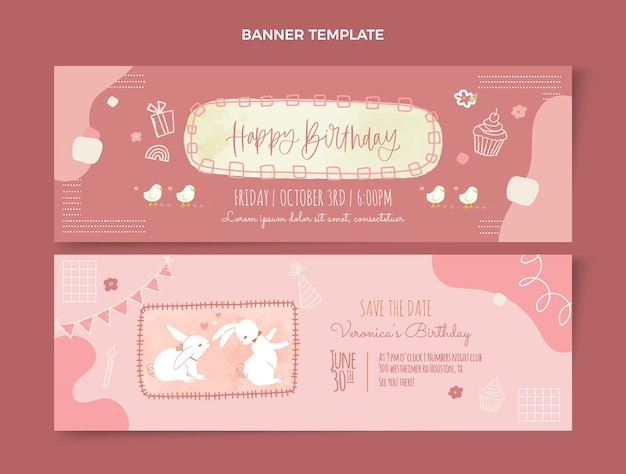 Bannières d'anniversaire dessinées à la main aquarelle horizontales