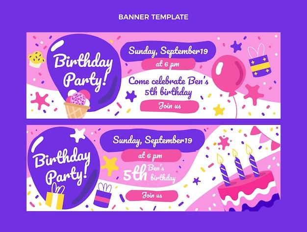Bannières d'anniversaire enfantines dessinées à la main horizontales