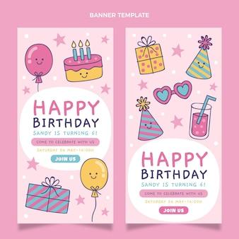 Bannières d'anniversaire enfantines dessinées à la main verticales