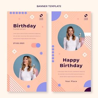 Bannières d'anniversaire minimales design plat verticales