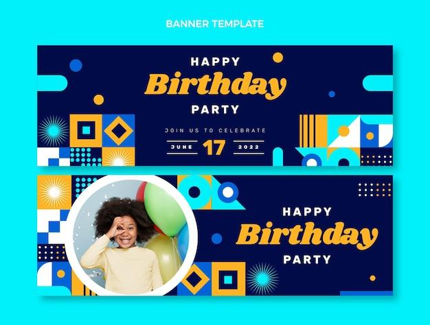 Bannières d'anniversaire en mosaïque design plat horizontales