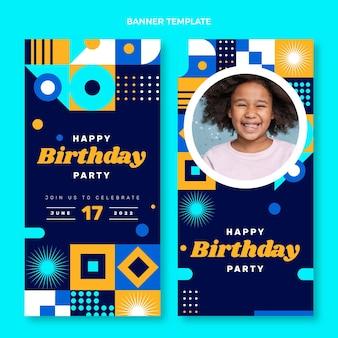 Bannières d'anniversaire en mosaïque design plat verticales