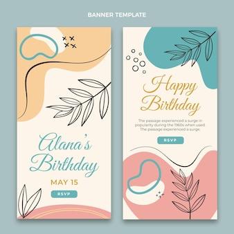 Bannières d'anniversaire plates minimales verticales