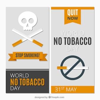 Bannières anti-fumeurs en conception plate