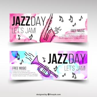 Bannières aquarelle de jazz avec des instruments de musique