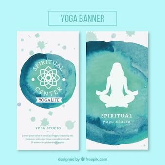 Bannières aquarelle mignon de yoga avec le symbole et la silhouette