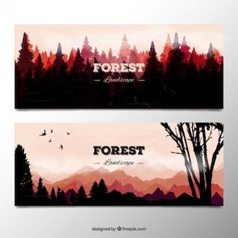 Bannières aquarelle paysage forestier