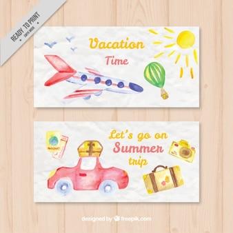 Bannières aquarelle de temps de vacances
