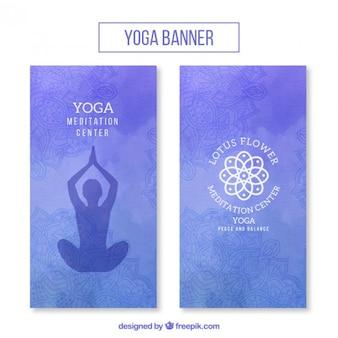 Bannières aquarelle de yoga mis