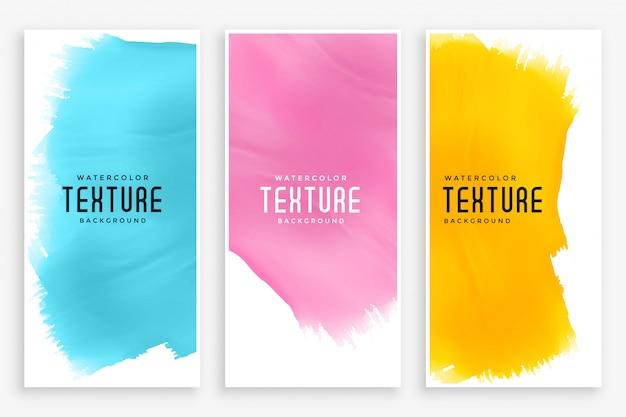 Bannières aquarelles abstraites définies en trois couleurs