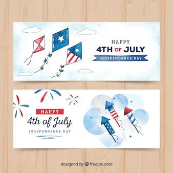 Bannières aquarelles de fête de l'indépendance des États-Unis