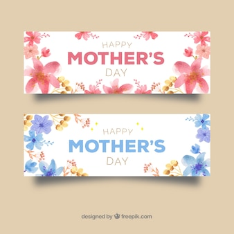 Bannières aquarelles florales pour la fête des mères