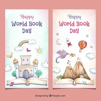 Bannières aquarelles journée mondiale du livre heureux