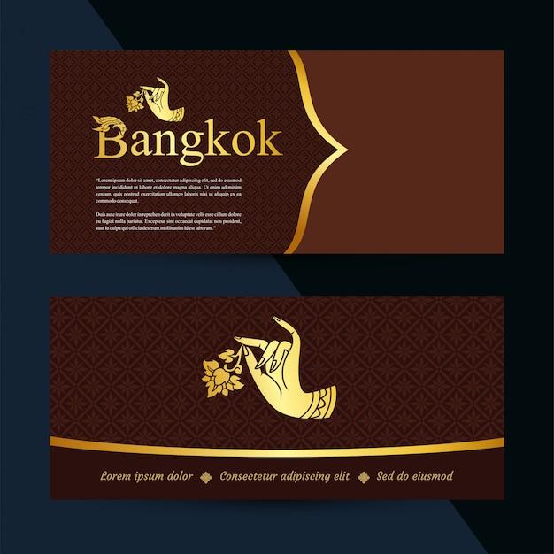 Bannières d'art thaï. modèle de bon cadeau. vecteur