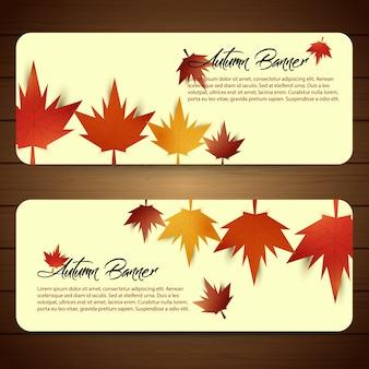 Bannières d'automne abstraites