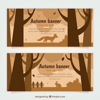Bannières d'automne avec des animaux dans la nature