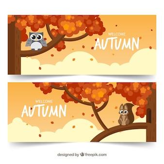 Bannières automne avec des animaux marrants dans les arbres