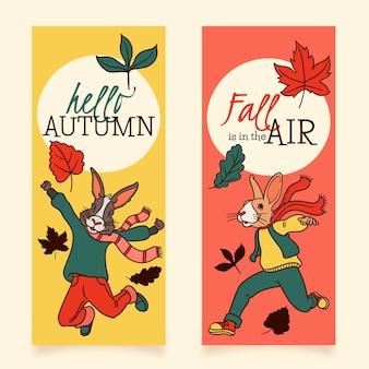 Bannières d'automne design dessiné à la main