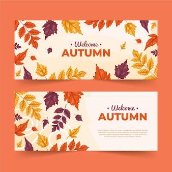 Bannières d'automne dessinées à la main