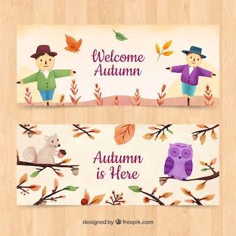 Bannières d'automne avec des épouvantails