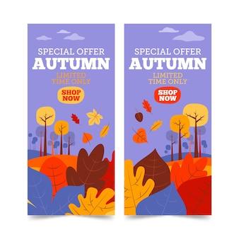 Bannières d'automne avec des feuilles