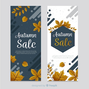 Bannières d'automne avec de jolies feuilles