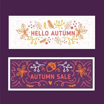 Bannières d'automne avec motif