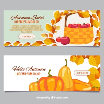 Bannières d'automne avec des pommes et des citrouilles