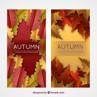 Bannières d'automne réalistes
