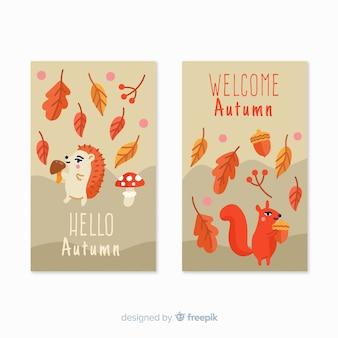 Bannières d'automne style dessiné à la main