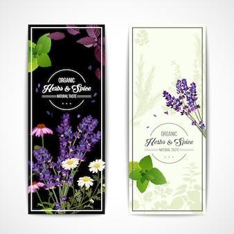 Bannières aux herbes aux fleurs sauvages et aux épices