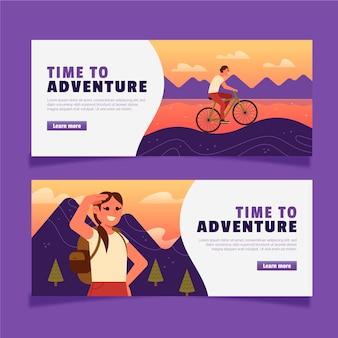 Bannières d'aventure design plat