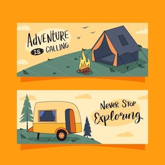 Bannières d'aventure dessinées à la main