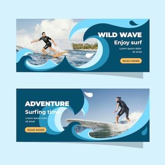 Bannières d'aventure avec photo