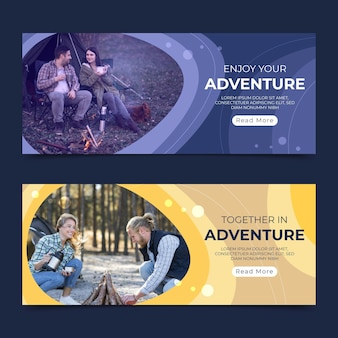 Bannières d'aventure plates avec photo