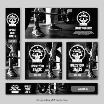 Bannières avec badge de gym
