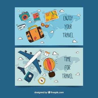 Bannières de bagages et accessoires dessinés et avion