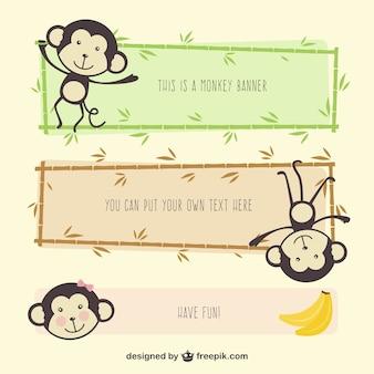 Bannières de bande dessinée de singe
