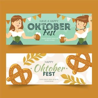 Bannières de bannières oktoberfest dessinées