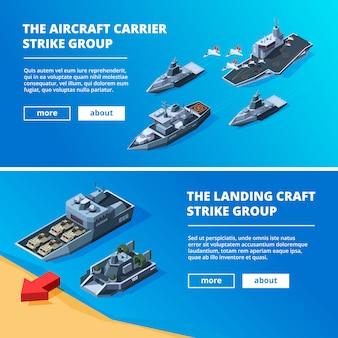 Bannières avec des bateaux militaires.