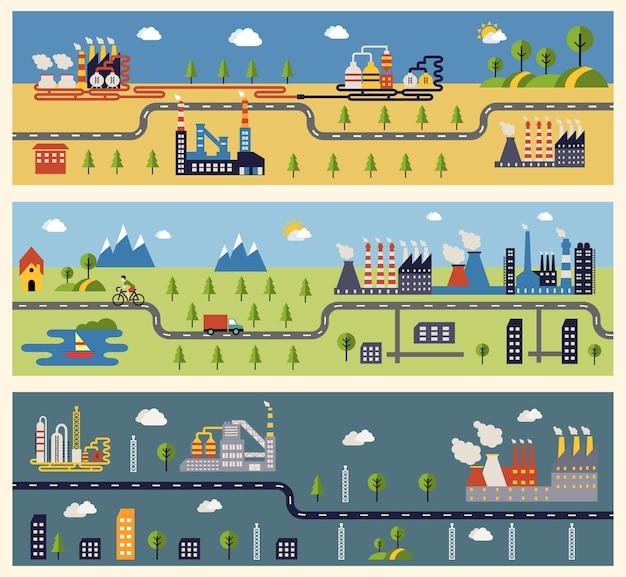 Bannières avec des bâtiments d'usines industrielles.