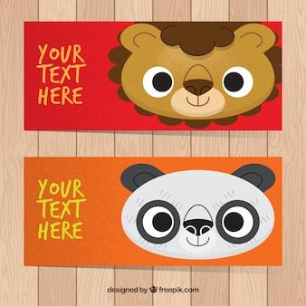 Bannières avec beau lion et panda