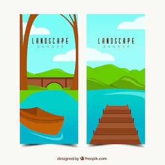 Bannières de beaux paysages