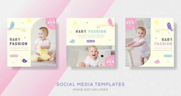 Bannières de bébé pour le modèle de publication de médias sociaux instagram