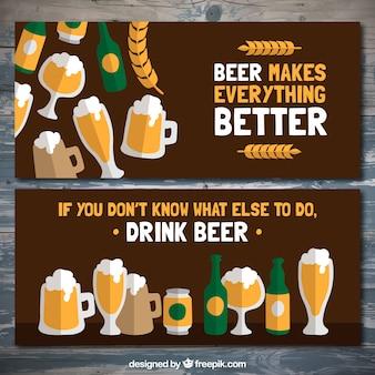 Bannières de bière avec un message